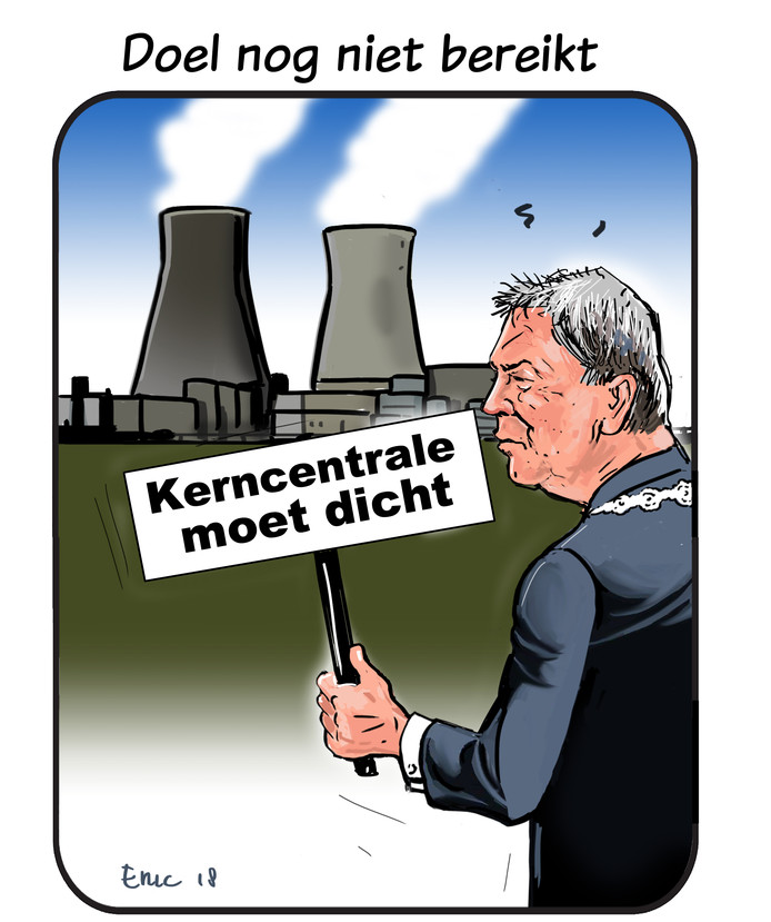 Cartoon over kerncentrale Doel