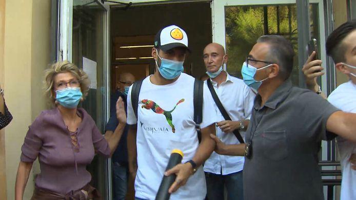 Luis Suárez vorige week in Perugia, waar hij aan de unief zijn taalexamen aflegde.
