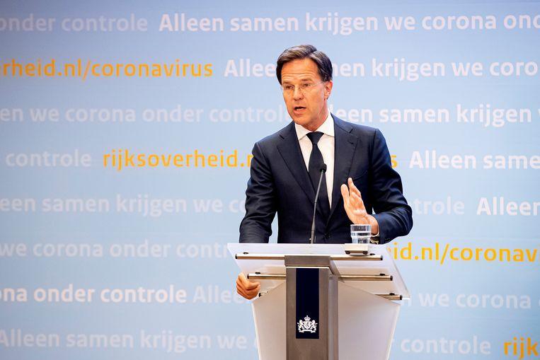 Minister-president Mark Rutte tijdens een persconferentie over de coronacrisis Beeld BSR Agency
