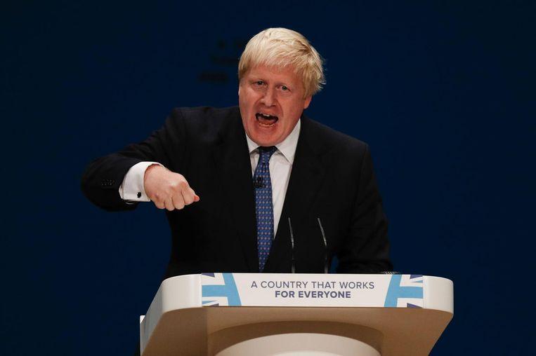 Minister van Buitenlandse Zaken Boris Johnson op het Conservatieve partijcongres in Birmingham. Beeld afp