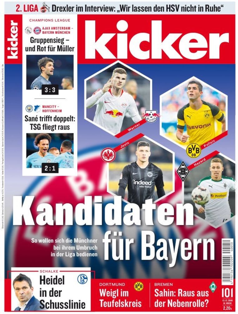 """""""Kandidaten voor Bayern"""", staat er op de cover van Kicker te lezen. Thorgan Hazard is één van die kandidaten."""