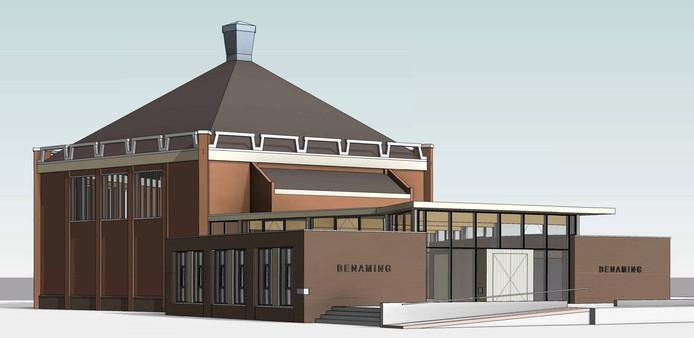 Het ontwerp voor het nieuwe kerkgebouw 't Kruispunt in Maasdijk.