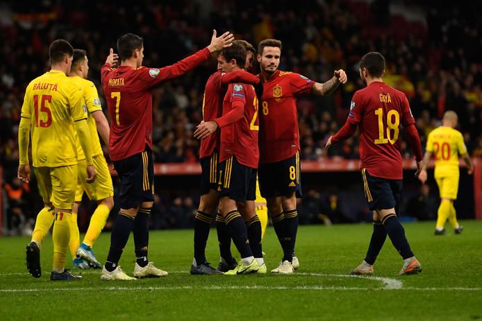 Spanje viert een van de vijf treffers.