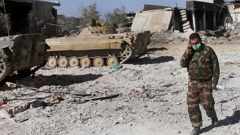 Een Syrische soldaat in Damascus. Beeld anp