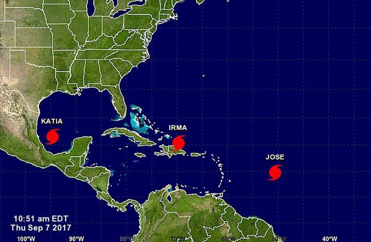 Orkanen Katia, Irma en Jose. Drie gelijktijdige orkanen, dat was in 2010 al eens waargenomen, maar nooit eerder dreigden die alledrie aan land te gaan.