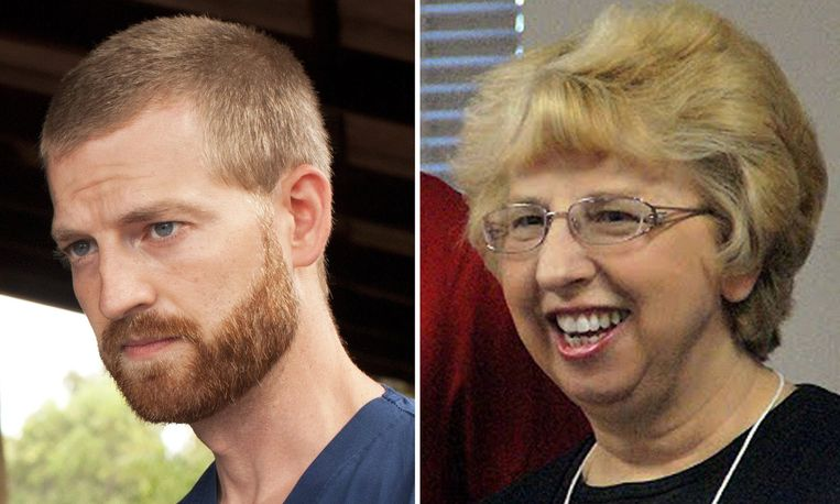 Amerikanen Kent Brantly (links) and Nancy Writbol liepen ebola op in West-Afrika Beeld afp