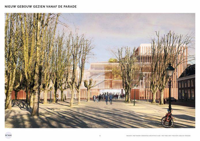 Het jongste ontwerp  van het nieuwe Theater aan de Parade met rechts de toneeltoren en recht vooruit de laad- en loszone die ook kan dienen als buitenpodium.