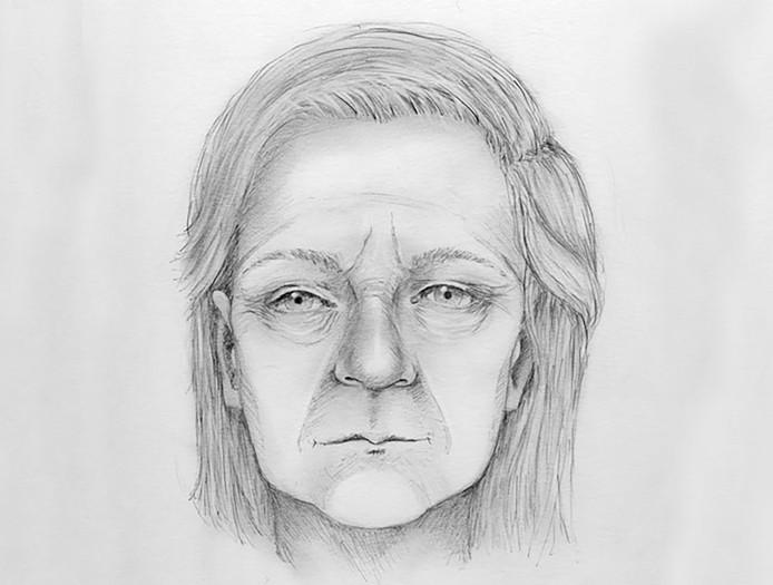 Een tekening van hoe de vrouw er vermoedelijk uitzag toen ze nog leefde.