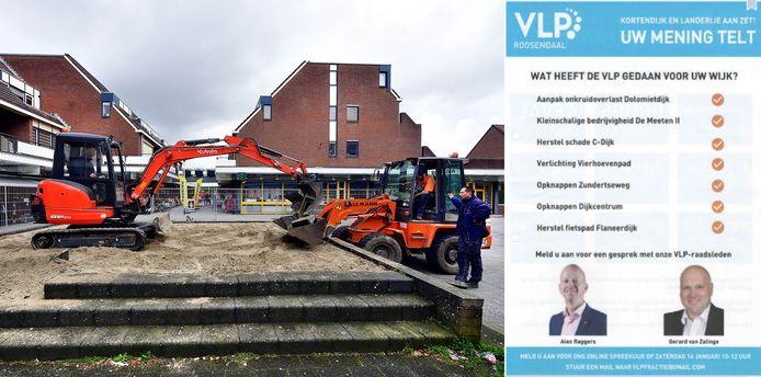 Werkzaamheden aan het Dijkcentrum, rechts de flyer van de VLP die bij bewoners van Kortendijk in het verkeerde keelgat schoot.