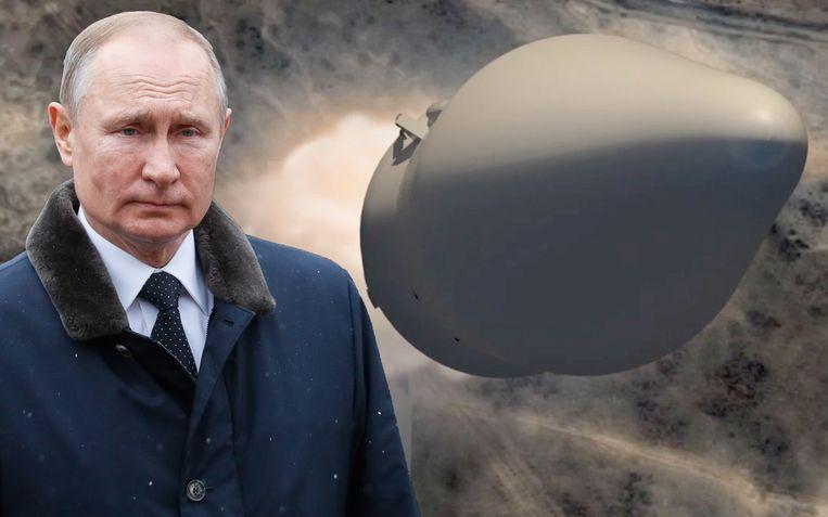 De Russische president Poetin gaf eind vorig jaar dit simulatiebeeld vrij van de hypersonische raket.
