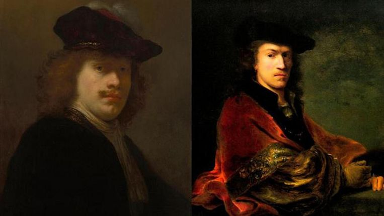 Links: Govert Flinck, Zelfportret, ca. 1640. Rechts: Ferdinand Bol, Zelfportret, leunend op een balustrade, ca. 1647. Beeld Amsterdam Museum