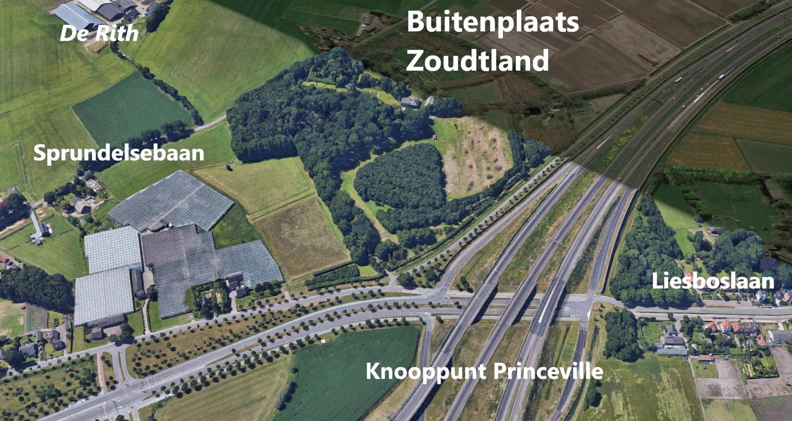 De buitenplaats Zoudtland ten westen van Breda.