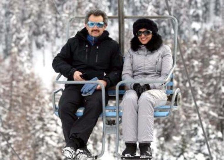 Amira met haar man Alwaleed bin Talal op skivakantie.