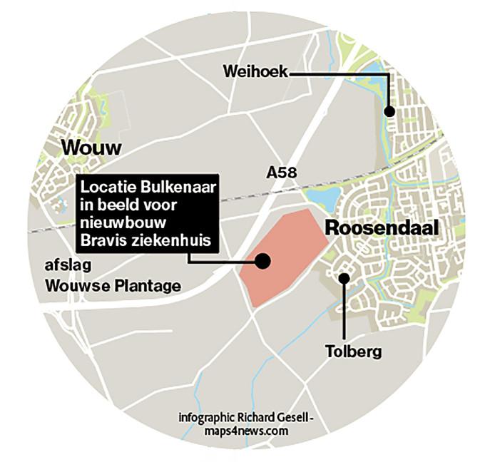 De plek die de gemeente Roosendaal aandraagt voor nieuwbouw Bravis.