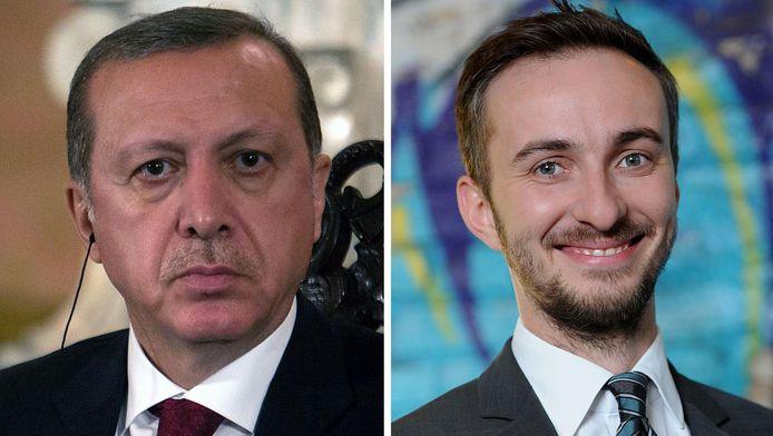 Erdogan en Böhmermann (rechts).
