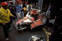 Het wrak na het ongeluk van Niki Lauda