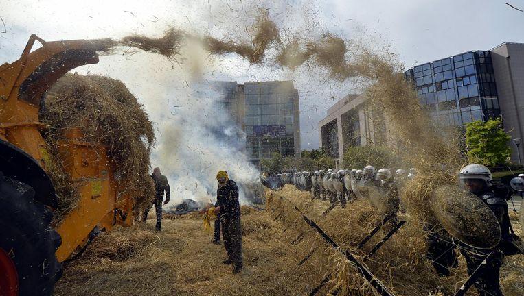 Waalse boeren bestoken de oproerpolitie in Brussel tijdens een proces tegen het EU-landbouwbeleid een jaar geleden. Beeld null