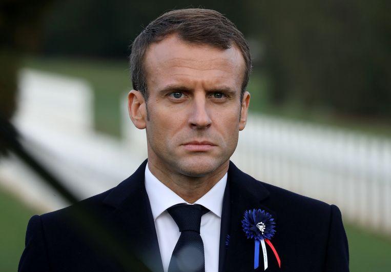 De Franse president Emmanuel Macron in Verdun tijdens de herdenking van het einde van de Eerste Wereldoorlog, over vijf dagen precies 100 jaar geleden.  Beeld REUTERS