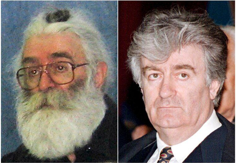 Karadzic zoals hij er uit zag in 1995 (rechts) en als gebedsgenezer. Beeld reuters