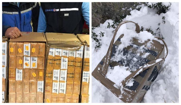 Foto links: eerder in beslag genomen sigarettensloffen. Foto rechts: Om hun vracht beter te kunnen dragen, fabriceren smokkelaars met sterke plakband een rugzak.