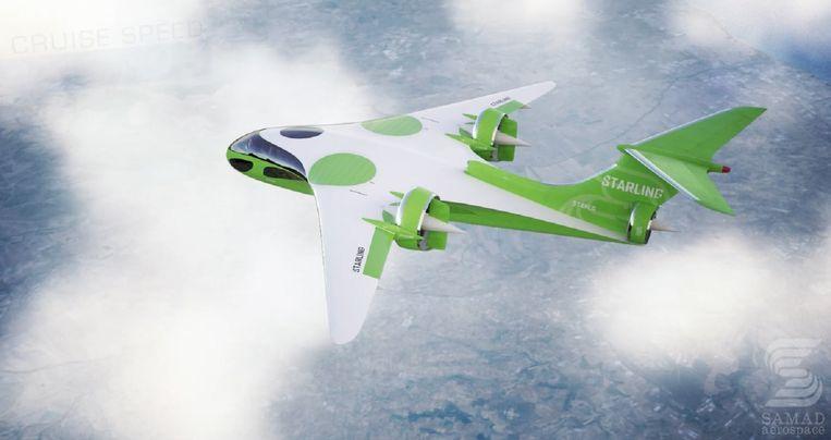 De Starling (spreeuw) van het Britse bedrijf Sama, een elektrisch vliegtuig voor 6 tot 10 personen dat in 2021 zijn eerste testvlucht moet maken. Beeld Samad Aerospace