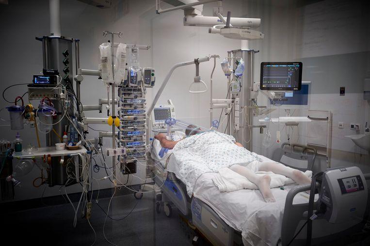 Een Belgische Covid-19-patiënt op de afdeling intensieve zorg. Beeld Photo News