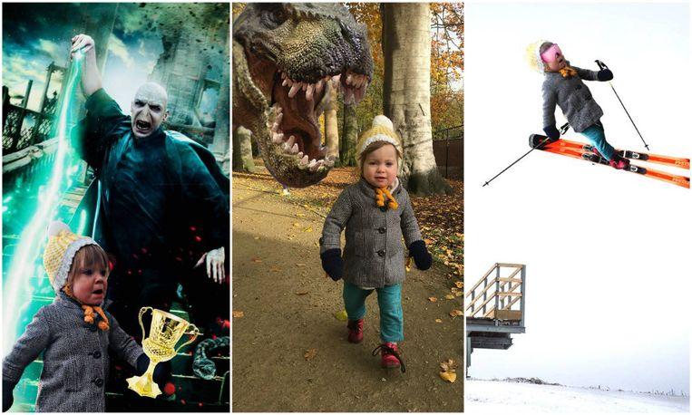 De resultaten: Nelle achtervolgd door Voldemort en een tyrannosaurus of Nelle die op ski's van een schans vliegt.