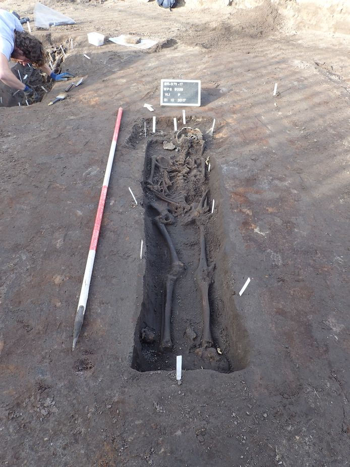 Een van de gevonden skeletten in Breda.