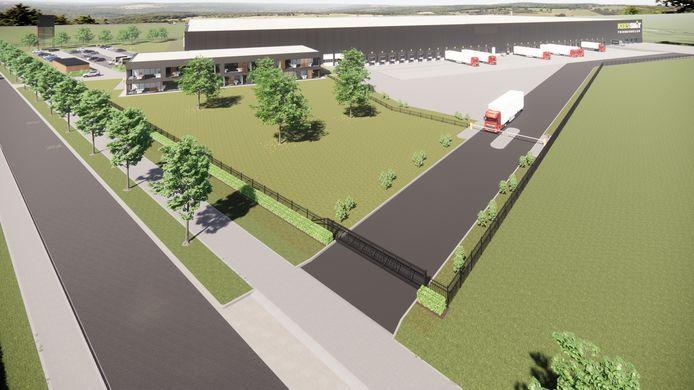 De nieuwbouw vanaf de achterzijde met links de kantoren en rechts het terrein met de laad- en losdocks.