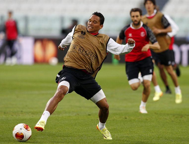 Carlos Bacca in volle voorbereiding op de finale van de Europa League.