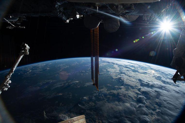Een foto van de Aarde vanuit het ISS.
