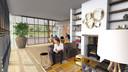 De ontvangstruimte heeft straks geen conventionele receptie. Gekozen is voor een gezellige huiskamer-setting met open haard.