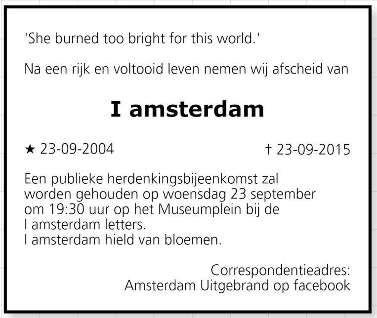 null Beeld Amsterdam Uitgebrand