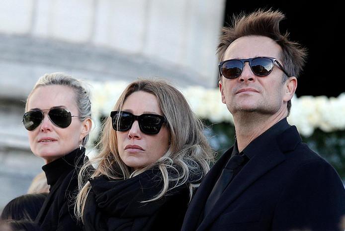 Laeticia, Laura et David lors des funérailles de Johnny Hallyday.