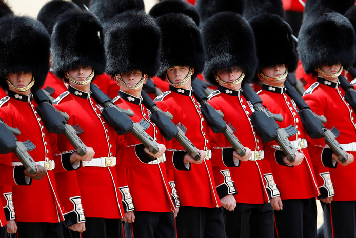 Members of the Coldstream Guards take part in the Trooping the Colour parade in central London, Britain June 8, 2019. REUTERS/Peter Nicholls