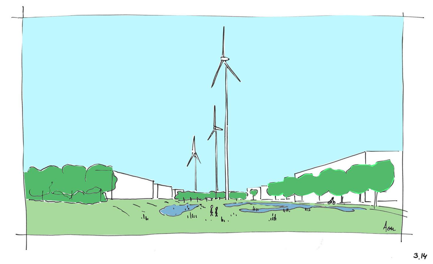 Een getekende impressie van het bedrijventerrein, mét windmolens.
