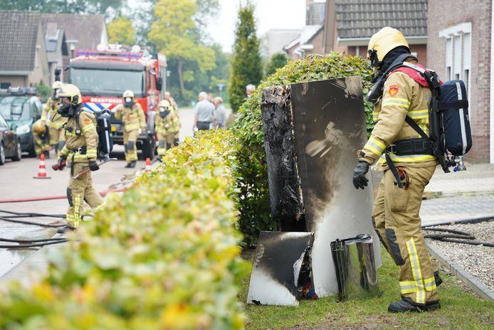 De brandende koelkast in Didam.