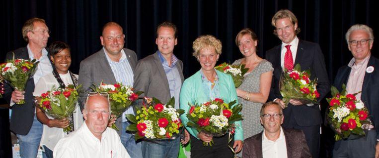 Het debat in Brielle, Anne Scheltema en Foort van Oosten als 3de en 2de van rechts Beeld Annette Blaset
