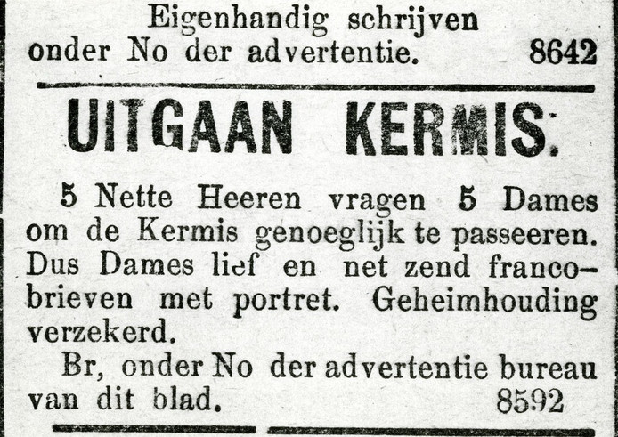 Relatiebemiddeling in vroeger dagen: een advertentie in de krant.