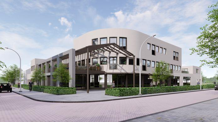 De artist impression van het voormalige Rabo-kantoor, dat grenst aan de Markt in Prinsenbeek. Er komen zeven appartementen in en twee commerciële ruimtes. De oplevering is al rond mei 2021.
