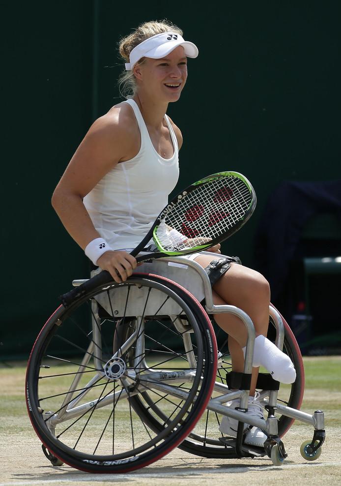 Diede de Groot eerder dit jaar in actie op Wimbledon.