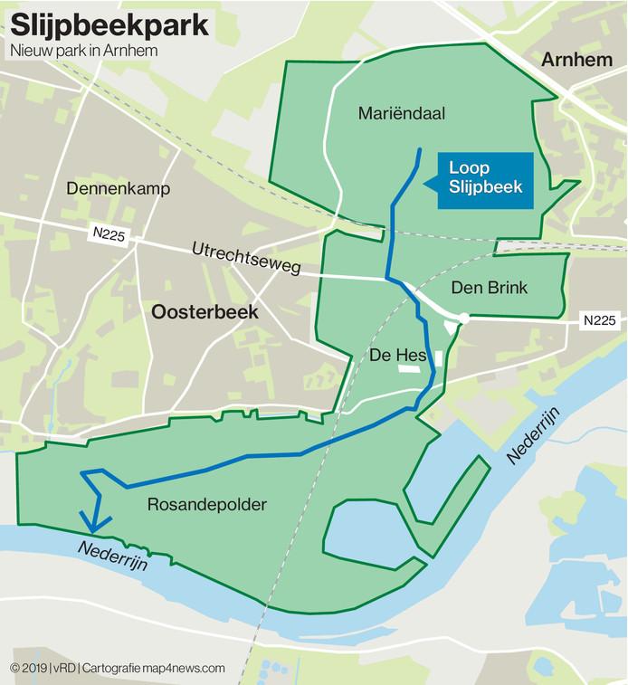 Overzichtskaart van het nieuw te vormen Slijpbeekpark tussen Arnhem en Oosterbeek, in het stroomgebied van de Slijpbeek.