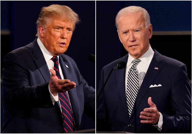 President Trump en zijn tegenstander Joe Biden – apart gefotografeerd  – tijdens het televisiedebat van vorige week. Beeld Patrick Semansky / AP