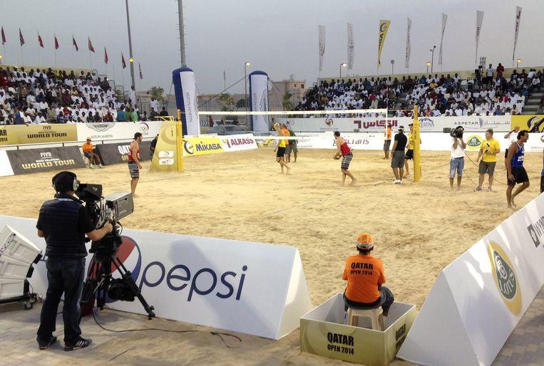 November 2014, Internationaal beachvolleybaltoernooi in Doha. Beeld AP