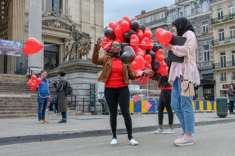 De actie vond plaats op het Beursplein in Brussel.