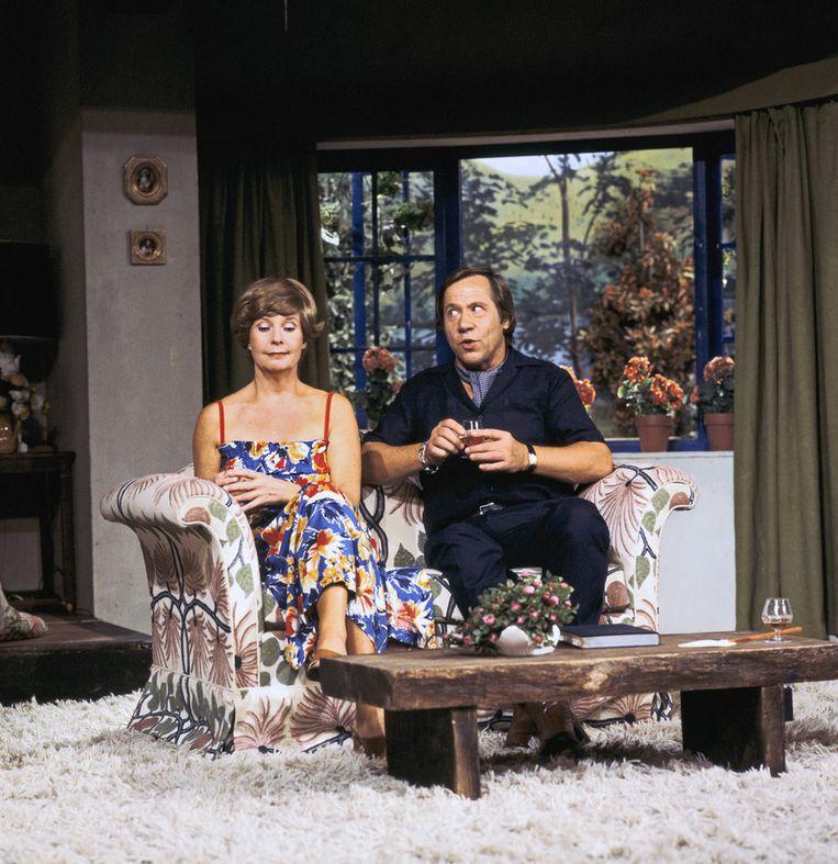 Scène met Kitty Janssen en Piet Romer in 1978 Beeld null
