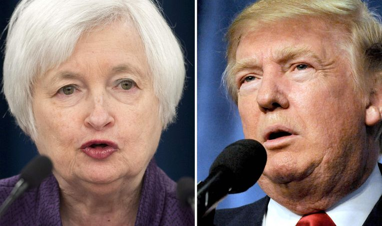 Fed-voorzitter Janet Yellen en Donald Trump. Beeld afp