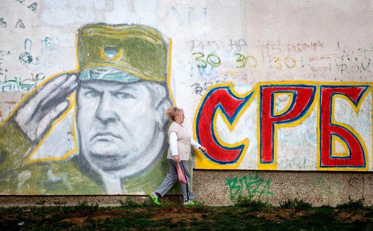 Graffiti in Belgrado waar sommigen Mladic nog altijd als held zien .  Beeld AFP