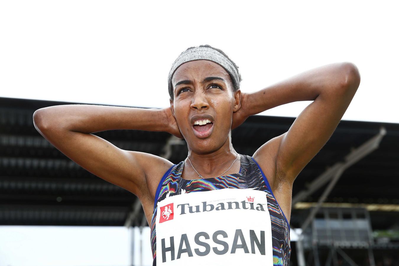Sifan Hassan na de 5000 meter tijdens de FBK Games 2019.