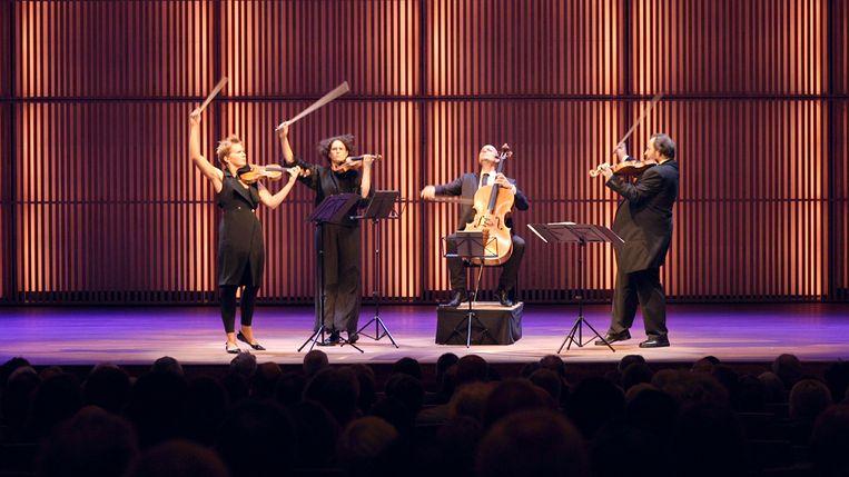 Het Artemis Quartett met vanaf links Vineta Sareika, Anthea Kreston, Eckart Runge en Gregor Sigl. Beeld Uit de documentaire The Neverending Quartet
